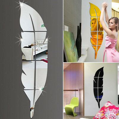 Modern Feather Mirror Removable Decal Art Mural Wall Sticker Home Room DIY Decor