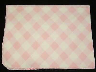 Amy Coe Pink White Plaid Stripe Check Fleece Baby Blanket Red Label Tag Gingham