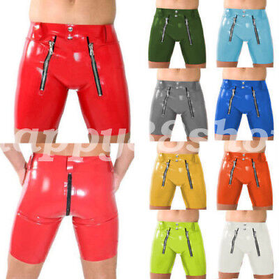 100% Latex Rubber Men's Sexy Tight Shorts Briefs Lace zipper Shorts Size XXS-XXL