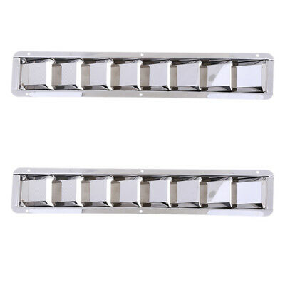 2Pcs Stainless Steel Marine Boat Louver Air Vent 8 Slots Ventilation 427mm