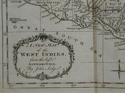 A New Map of the West Indies from the Best Authorities By John Lodge. 18th C