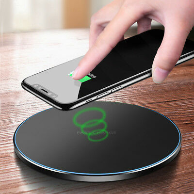 For iPhone X XR XS Max 8+LG G7 ThinQ QI Wireless Fast Charger Charging Pad Metal