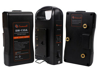 Soonwell 2X130Wh Anton Bauer Gold Mount Camera Li-ion Battery+2 Channel Charger