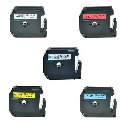 """5PK M-K MK 131 231 431 531 631 Label Tape For Brother P-Touch PT-110 1/2"""" 12mm"""