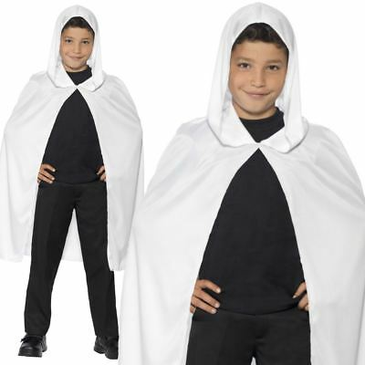 Kids Boys Girls White Hooded Cape Cloak Robe Fancy Dress Halloween Accessory