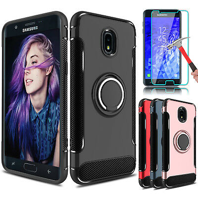 For Samsung Galaxy J7 V 2018/Crown/Star/Refine Ring Holder Case+Screen Protector