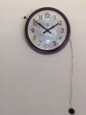 """SMITHS SECTRIC WALL CLOCK BAKELITE LARGE IN FULL WORKING ORDER 15""""x3.5"""""""