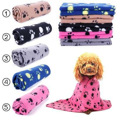 New Soft Warm Paw Print Fleece Blanket Mat Cover For Pet Cat Puppy Dog Best EB