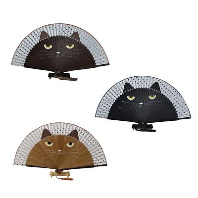 Vintage Japanese Bamboo Silk Hand Fan Cartoon Cat Painted Folding Fan Craft.#