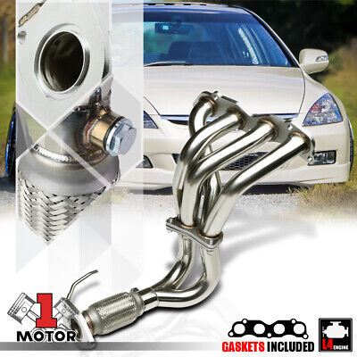 Stainless Steel Exhaust Header Manifold for 03-07 Honda Accord 2.4 4Cyl K24A4 I4