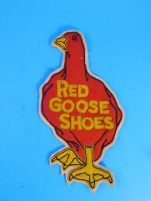 Red Goose Shoes Vintage Antique Felt Advertising Jacket Patch