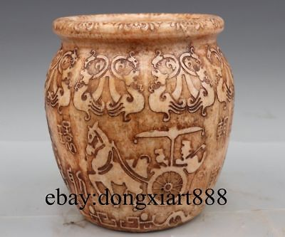 """10"""" Chinese White Stone Jade Ancient Figural Dragon Beast Carriage Vase Pot Jug"""