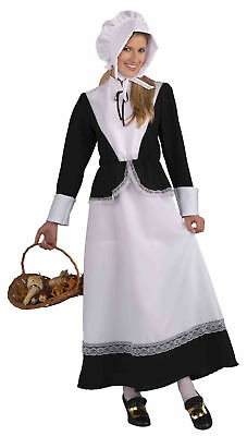 Womens Adult Pilgrim Costume Colonial Lady Settler Dress Bonnet Thanksgiving