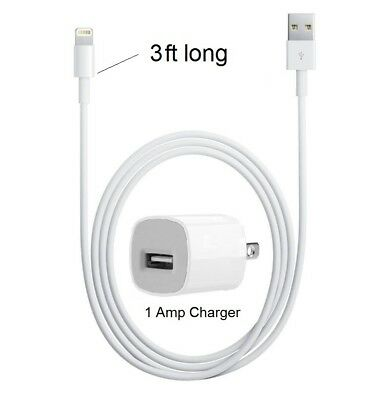 3ft Apple USB Lightning Cord Cable OEM + Cube Wall Charger for iPhone X 8/7/7S/6