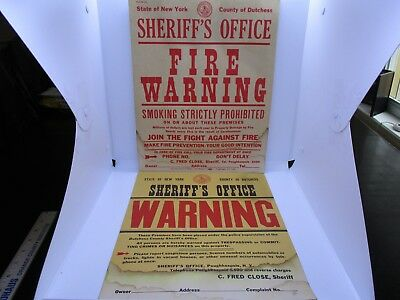 Vtg Sheriff's Office Fire Warning Cardboard Posters State Of New York 1950's