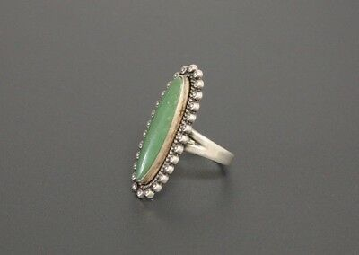 1PC Size 6-10 Stainless Steel Wedding Ring Women Party Green Gemstone Mystic New