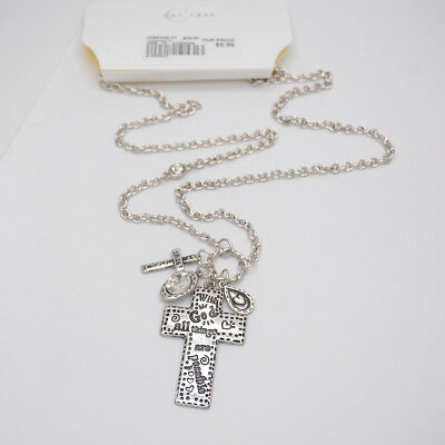 vintage silver plated cross pendant necklace WITHE GOD ALL THINGS ARE POSSIBLE