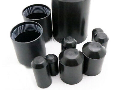 2-10pcs Adhesive Glue Lined 2:1 Heat Shrink End Caps Diameter 10mm-120mm Black