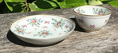 Old Antique 18th Century New Hall Tea Bowl Cup & Saucer Floral Decoration