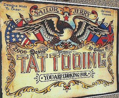 Tattooing Sign  Eagle Flags Banner Designs Tattoo Colorful By Sailor Jerry