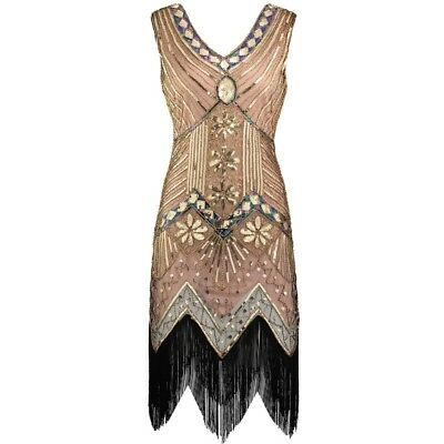 New 1920s vintage gatsby flapper charleston sequin beige dress UK M - XXL