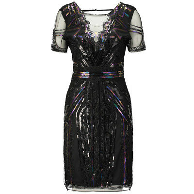 New 1920s vintage gatsby flapper charleston sequin black dress UK S - XL