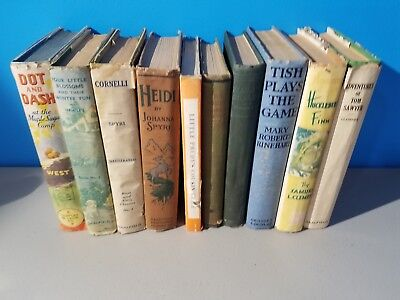 Lot of 10 Vintage Children's Books Decor Display Prop Tom Sawyer Dot Dash Heidi