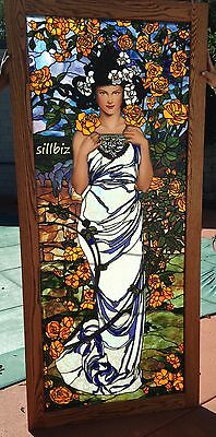 """Exquisite Art Nouveau Stained Glass Bogenrief Inspired By Alphonse Mucha """"rose"""""""