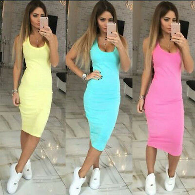 2018 Womens Sleeveless Strappy Tank Dress Slim Rib Knit Split Party Midi Dress S