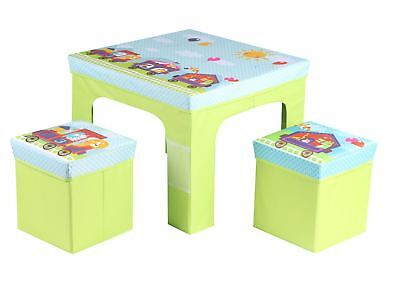 Childrens Kids Folding Princes Table And Two Chairs Stool Set Foldable Furniture