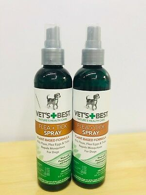 Lot of 2 Vet's Best Natural Flea and Tick Spray for Dogs 8oz (16oz Total) Dog