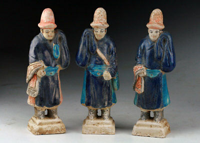 *sc* A Set Of Three Decorative Chinese Ming Dynasty Pottery Attendants, 1368-164