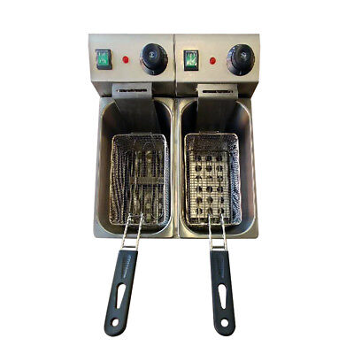 Pantin Commercial 18L Double Well Electric Countertop Deep Fryer 240V 5000W