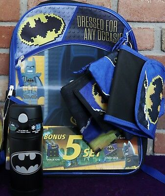 """5 PC Lego BATMAN Movie 16"""" BACKPACK Lunch Bag Wallet Pencil Case Set & THERMOS"""