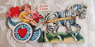 Vintage Valentine, Horse Pulls Cart Decorated With Forget Me Nots, Mechanical