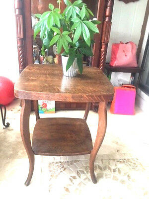 Antique Tiger Oak Two Tier Lamp Table