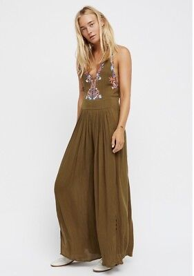 46263a8c5a3 New Free People Sz 2 Embroidered Extreme Wide Leg Gauze Amalfi Jumpsuit  Olive