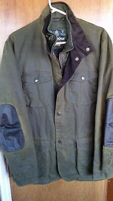Barbour Ogston Waxed cotton jacket, Jcrew, Olive, Large, New