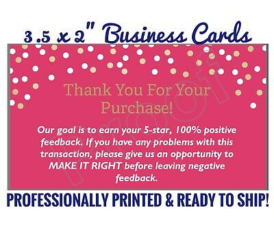 50pc Thank You For Your Purchase Business Cards Buyers Feedback Package Inserts