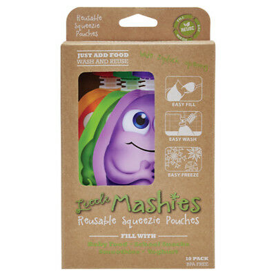 New Little Mashies Reusable Squeeze Food Pouch 10 Pack Mixed Colours 130ml