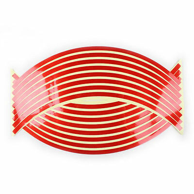 Reflective Motorcycle / Car Rim Stripe Wheel Decal Tape Sticker 16 Strips - Red