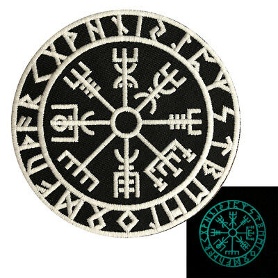 Glow Dark Viking Compass Vegvisir iron on Sew on Patch (GLW1)