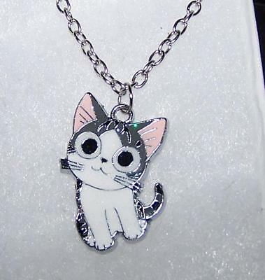 CAT KITTEN KITTY CUTE PET pendant SILVER necklace chain women FREE GIFT box D239