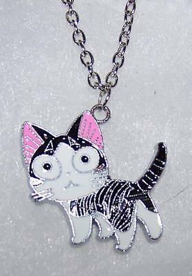 CAT KITTEN KITTY CUTE PET pendant SILVER necklace chain women FREE GIFT box D232