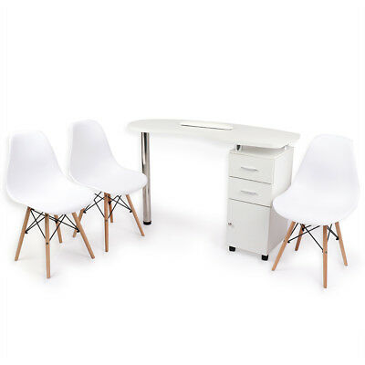 White Nail Bar Manicure Table Furniture Set With 3 Chairs Included