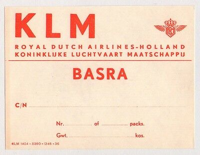 1950's Klm Holland Royal Dutch To Basra, Iraq Airline Luggage Label