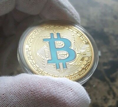 1oz 24k Gold Plated Physical Bitcoin Proof Round Coin in case FAST SHIPPING ! !