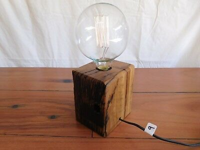 Rustic Style Table Lamp Cut From Recycled Railway Sleeper