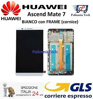 DISPLAY HUAWEI MATE 7 BIANCO con FRAME (cornice) LCD TOUCH COMPLETO - Sped 24h