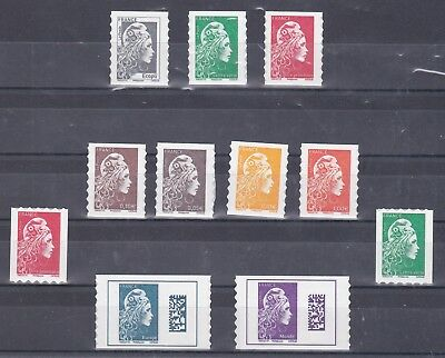 """Timbres Neufs Adhesifs """"marianne L'engagee"""" Serie 9 Timbres + 2 Roulettes"""